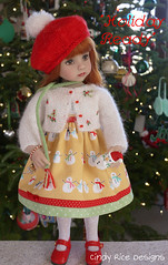 """Holiday Ready"" made for Dianna Effner's Little Darlings. (Cindy Rice Designs) Tags: embroidery sweater cardigan christmas beret hat doll dress littledarlings effner knit"