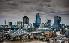 Stormy & Serious London (DobingDesign) Tags: skyline cityscape cityskyline buildings iconicbuildings iconiclondon bridge riverthames walkietalkie cheesegrater theleadenhallbuilding tower42 gloomy dark evening lights urbanscape urban corporaterealestate clouds sky stormy london londonarchitecture darkandlight overcast rain windows