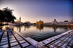 Sunrise @ Sri Harmandir Sahib (Golden Temple) (Raghavan Prabhu) Tags: temple goldentemple sikh gurugranthsahib punjab amritsar wideangle lake sunrise peace divine serene