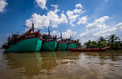 Mekong 01 (arsamie) Tags: mekong delta river vietnam water mud brown boat fishing trawler sky clouds mangrove jungle asia southeast palm tree tho cai be turtle island