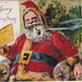Antique CHRISTMAS SANTA c.1908 HAPPY SANTA SMOKING HIS PIPE & READING MOTHER GOOSE RED SUIT GOLDEN FUR TRIM Great Color  Publisher MC LOUGHLIN BROTHERS New York