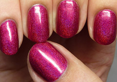 Enchanted Polish Cranberry Cosmo (http://www.thepolishedhippy.com) Tags: pink red swatch nail polish indie enchanted shimmer linear holographic varnish swatches lacquer holo bigcartel