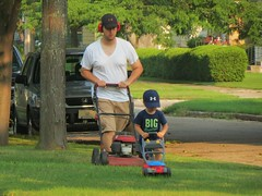 IMG_3458 (2)  Like Father, Like Son #3 (jgagnon63@yahoo.com) Tags: yard fatherandson likefatherlikeson mowing lawnmowing escanaba familyscene canonsx40 escanabasummer