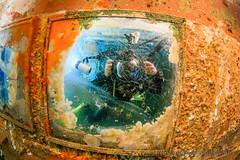 Mirror selfie on USS Kittiwake (WhitcombeRD) Tags: focus ship underwater grand shipwreck cayman wreck 2015 kittiwake divetech