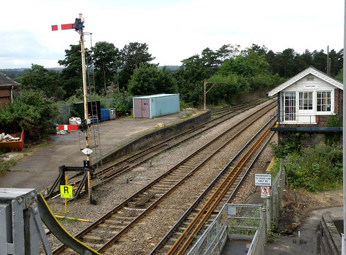 Thetford up starting signal, signal box and loading bay, 19/07/2008