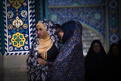 Girls in the Shrine of Fatima Al Masomeh in Qom, Iran (berengere.cavalier) Tags: scarf iran islam mosque shia qom iraniangirl holyshrine