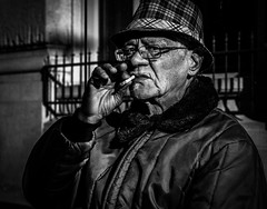 DSC03008 (oteroandre@ymail.com) Tags: blackandwhite bw man monochrome cigarette candid streetphotography ct smoking harford a6000 sonyilce6000