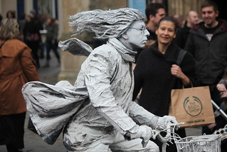 Human statue performer at Bath xmas market 2015