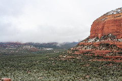 Red Rocks in Clouds (Styggiti) Tags: travel winter arizona usa snow desert hiking sedona 2015