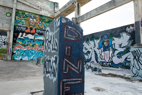 HUA HIN ,THAILAND - May30,2015 :Graffiti abandoned old factory structure.Main Street entrance to the town