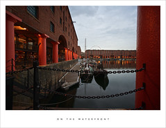On the waterfront (Parallax Corporation) Tags: liverpool albertdock boats water red columns chains merseyside gangway yacht reflections warehouses wideangle