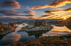 Eigery/Egersund - Norway (BjrnP) Tags: landscape seascape sea clouds water sunset reflection boathouses cabin egersund eigery norge norway rogaland light colors sony tamron 1530 bjrkeland peder bjrn explore