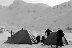 Getting out the tents (threepinner) Tags: mountainsnaps taisetsunationalpark mtkamihorokamettoku kamifurano hokkaidou hokkaido northernjapan japan pentax mzm pentaxm 50mm f17 kodak microfilm imagelink hq iso25 selfdeveloped tent snow
