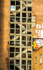 broken stairs and windows (PDKImages) Tags: kelham sheffield sheffieldstreetart sheffieldart abandoned broken urban lost contrasts skull yorkshire desolate windows