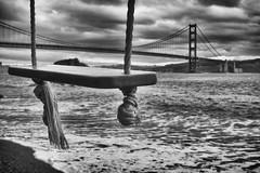 Swings by the ocean (katiegodowski_photography) Tags: ocean swing monochrome blackwhite golden gate bridge marin outdoor
