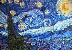 """Starry night"" free copy of Vincent Van Gogh  2016 OIL ON CANVAS by Alisa Denoizz 70x100cm  #OilPainting #OilOnCanvas #PaletteKnife #TexturePainting #KnifeArt #TextureArt #Texture #Vincent #VanGogh #StarryNight #Impasto #AlisaDenoizz (alisa_denoizz) Tags: oilpainting oiloncanvas paletteknife texturepainting knifeart textureart texture vincent vangogh starrynight impasto alisadenoizz"