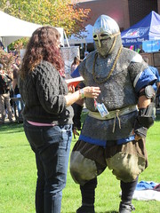 Ah, let's talk this over (jamica1) Tags: ubc ubco bc university british columbia okanagan campus kelowna canada medieval reenactment armor chain mail helm helmet