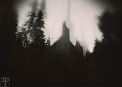 Shaken not Stirred (John DelToro Photography) Tags: pinhole photography camera coffee can wide long exposure pacific northwest lensless bw blackwhite ilford harman direct positive fb fiber based glossy paper play portland temples lds raining windy shaky wet film