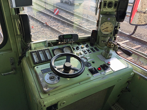 Cab of a TRAVYS railcar at Orbe