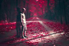 Meeting the shadow (Ans van de Sluis) Tags: portrait surreal forest woods art fineart ansvandesluis shadow alienating estrange