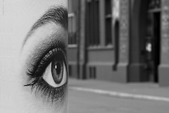 Big eye (Dieter Voegelin) Tags: auge eye basel marketplace bw schwarzweiss