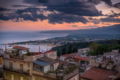 Room with a View (Bommer60) Tags: taormina sicilia italy it giardininaxos sicily dusk evening redsky sea europe water hills cloudsstormssunsetssunrises clouds abenddmmerung abend mediterranean nikond750 nikon nightlights nightsky 24120mm