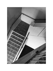How many shapes can you see? (the_light_collector) Tags: lessismore simple minimalism urbansketch urbanexplorer mobilephotography iphonephotography iphoneography emptyspace stairs bw desolate blackandwhite shapes geometry geometricbeauty