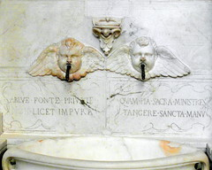 two angels from florence (kexi) Tags: florence firenze florencja italy europe toscany tuscany white angels two 2 pair couple marble sculpture church interior santamarianovella samsung wb690 october 2015 symmetry text latin instantfave