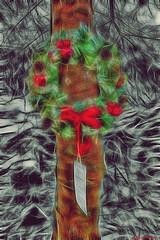 A Note to Mum (Billy McDonald) Tags: fractalius park selectivecolour glasgow springburnpark anotetomum memorialgarden wreath tree