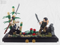 The Apprentice and the Master (burningblocks) Tags: moc oriental fantasy chinese asian diorama fight battle bamboo vignette spear blade martial arts