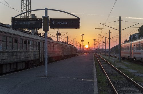 Sunset at the Burgas railway station, 09.10.2014.