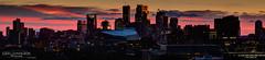 Stripes Behind the City (Greg Lundgren Photography) Tags: sunset urban panorama minnesota skyline night cityscape skyscrapers magenta minneapolis wellsfargo twincities foshay ids cityofminneapolis greglundgren onlyinmn usbankstadium