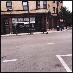 Going Down To The Corner Barber Shop (swanksalot) Tags: chicago sign corner neon stranger barbershop barber skateboard 2933 hipstamatic yuяi61lens rasputinfilm