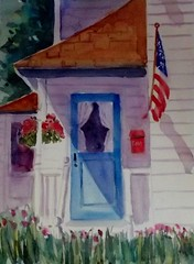 RED WHITE AND BLUE (BonnieBuchananKingry) Tags: blue white house watercolor paintings americanflag porch bluedoor mailboxred