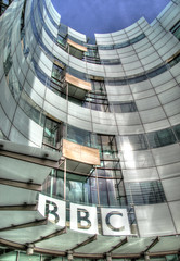 The BBC (Raphooey) Tags: city uk england london glass modern canon logo eos steel centre capital modernism headquarters corporation bbc broadcasting 7d gb metropolis british canopy hdr photomatix