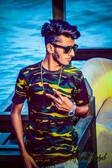 Swag on - Nusrat (themj_productions) Tags: blue sea haircut pose army photography golden mj side watch tshirt shades chain swag productions rayban the nusrat iqbal fouji armypatterned