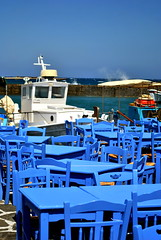 The Blue Naoussa (Filippo Saluzzo) Tags: sea summer port mare ship estate chairs greece nave porto grecia tables sedie paros cyclades tavoli cicladi naoussa