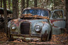 Autumn Wreck (Rainfire Photography) Tags: auto old autumn fall broken car rust antique wreck wreckers delapitated mcleans