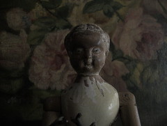"ALIS_wood ""Joel Ellis doll""_1873. Pivoines, 1883 (leaf whispers) Tags: joelellis doll jointed antique nakeddoll nudedoll beautyindecay spiritdoll haunteddoll oldtoy antiquetoy joelellisdoll wooden springfield maker artist light poupe ancienne bois obsolete articulated blond blonde joel ellis erotic erotica fetish ftiche interesting unusual unique buy auction kink sale folkart oil painting hand painted peonies peonie victorian rose roses wood carved stilllife naturemorte flowers decay decayed entropy distressed"