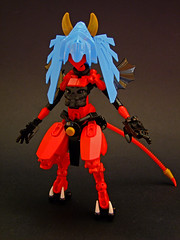 Morgana the Imp (Djokson) Tags: imp demon succubus red blue azure hair horns goat legs leather black wings djokson lego moc bionicle toy