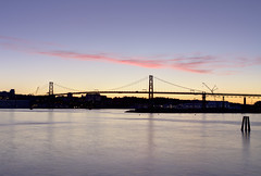 Pink clouds over Macdonald Bridge, Halifax, Nova Scotia (internat) Tags: 2016 canada novascotia ns halifaxharbour macdonaldbridge hdr pinkclouds afterthesunset