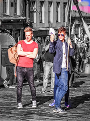 "Blair Gibson promotes ""Zanna, Don't"" on Royal Mile Edinburgh (FotoFling Scotland) Tags: 2015 amusicalfairytale arts alexanderdinelaris andrewgowland edinburgh edinburghfestivalfringe mgaacademy murraygrant royalmile timacito usa august blairgibson flags gay highstreet musical performer promotion rainbowflag streetperformer streettheatre zannadont"
