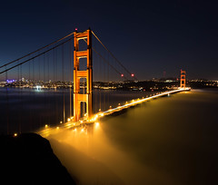 Low fog at the deck of the Golden Gate Bridge (n8sk8) Tags: goldengatebridge ggb bridge sanfrancisco goldengate fog night lightstream longexposure california northerncalifornia