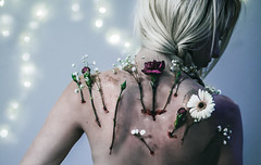 Beauty in the Cracks (vanessa.smith) Tags: flowers conceptual conceptualportrait selfportrait purple red blood spine back skin vanessasmithphotography