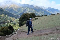 Hiking (Vinchel) Tags: china sichuan siguniang trek outdoor mountain hiking fuji xt2 1655mm f28 landscape hill mountainside field grassland ridge people travel