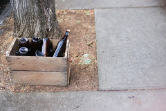 The box (Ian Thomas Ackerman) Tags: bottles outdoor sidewalk footpath box woodenbox crate tree