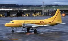 C-FHEN. Ex European Expedite  Convair 580 (Ayronautica) Tags: convair580 prestwick egpk pik february 1990 ayronautica aviation turboprop vintage cfhen europeanexpedite scanned