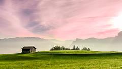 Good morning... (marco soraperra) Tags: landscape hat house grass verde sky clouds sun sunrise sunlight light shadow pink pastell field green nikon nikkor