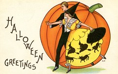 Halloween Greetings (Alan Mays) Tags: ephemera postcards greetingcards greetings cards paper printed halloween holidays october31 jackolanterns pumpkins men women clothes clothing dresses hats witchhats fans dances dancers dancing masquerade masquerades masqueradeballs masks witches broomsticks brooms cats blackcats animals borders illustrations orange yellow green 1916 1910s antique old vintage typefaces type typography fonts margaretevansprice margaretprice artists illustrators postcardartists artistsigned stecherlithographiccompany stecherlithographicco stecher slc postcardpublishers lithographers 419c series419c postcardseries