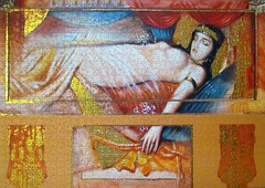 Cleopatra asleep (pefkosmad) Tags: jigsaw puzzle clementoni 1000pieces complete cleopatra cleopatraasleep modern art painting contemporary metallic hobby pastime leisure egypt platinumcollection joadoor